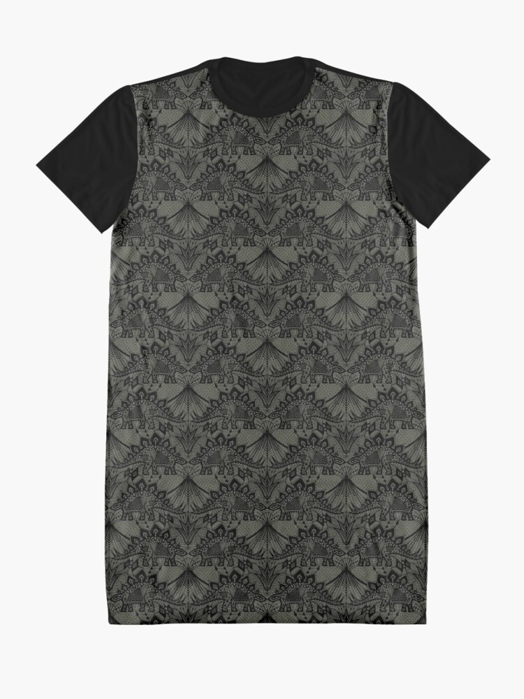 Alternate view of Stegosaurus Lace - Black / Grey Graphic T-Shirt Dress