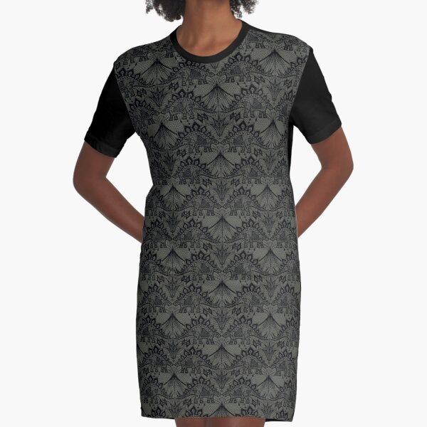 Stegosaurus Lace - Black / Grey Graphic T-Shirt Dress