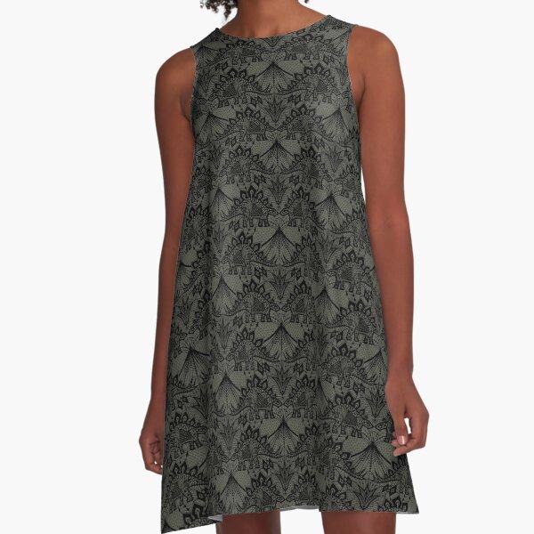 Stegosaurus Lace - Black / Grey A-Line Dress