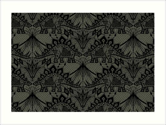 Stegosaurus Lace - Black / Grey by Andrea Muller