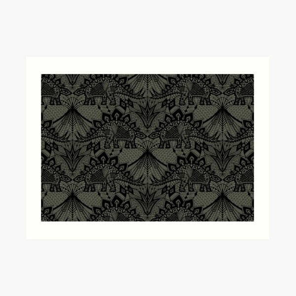 Stegosaurus Lace - Black / Grey Art Print