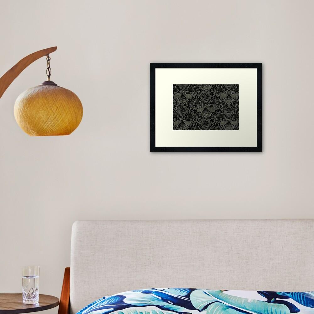 Stegosaurus Lace - Black / Grey Framed Art Print