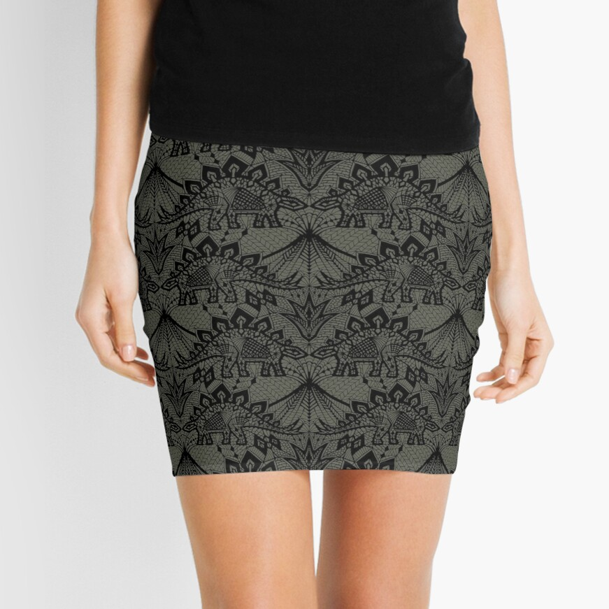 Stegosaurus Lace - Black / Grey Mini Skirt