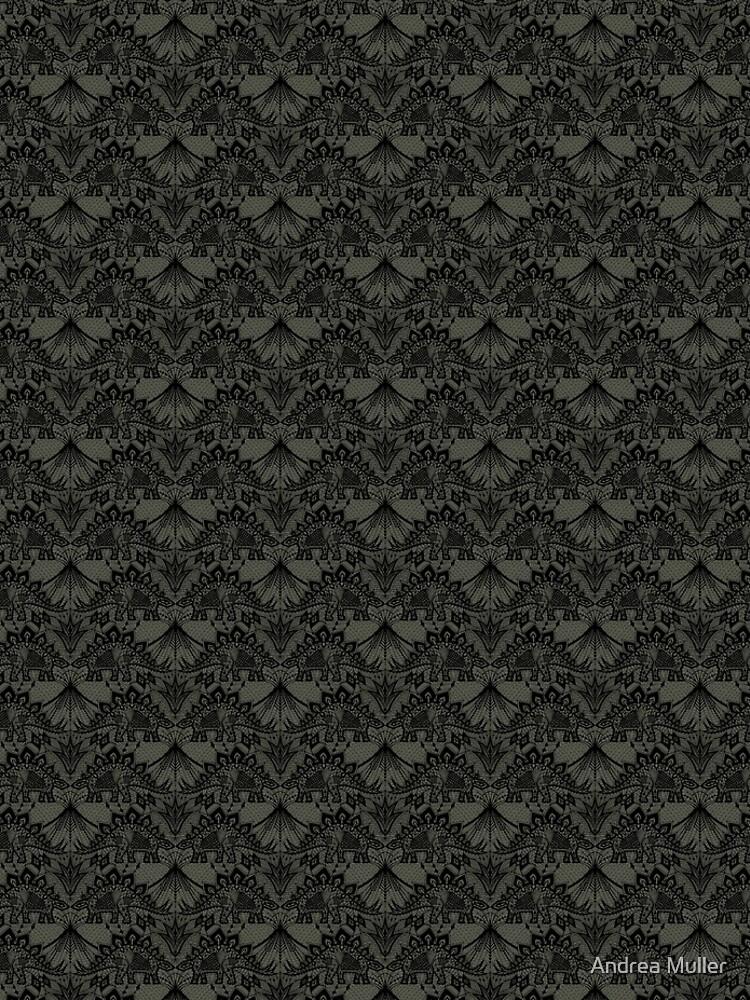 Stegosaurus Lace - Black / Grey by andreaalice