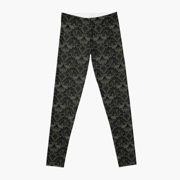 Stegosaurus Lace - Black / Grey Leggings