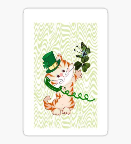 Kitty on St.Patrick's day (1887 Views) Sticker