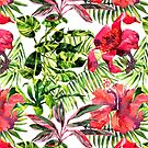 Tropical Background. watercolor tropical leaves and plants. Hand painted jungle greenery background by OlgaBerlet