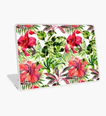 Tropical Background. watercolor tropical leaves and plants. Hand painted jungle greenery background Laptop Skin