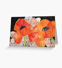 Poppies with Peeking People Greeting Card