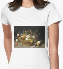 Jan Brueghel - A Basket Of Flowers Womens Fitted T-Shirt
