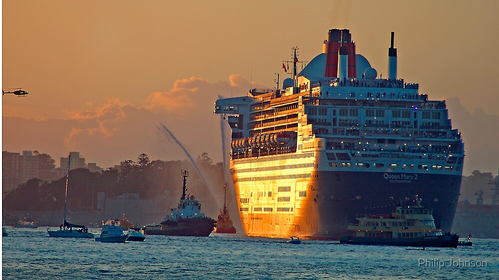 Queen Mary 2 Morning, Sydney Harbour , Sydney Australia by Philip Johnson