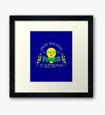 Knowledge is Power - Great Teaching is Electrifying - Green & Yellow Framed Print