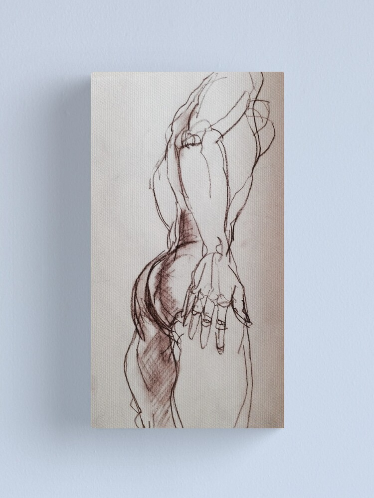 Alternate view of Male nude sketch in sepia  Canvas Print