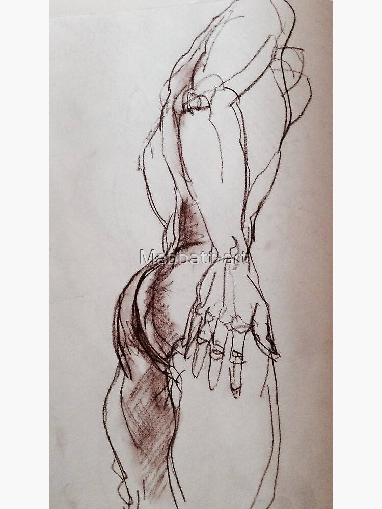 Male nude sketch in sepia  by Mabbatt-art
