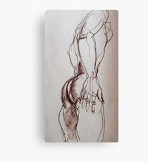 Male nude sketch in sepia  Canvas Print
