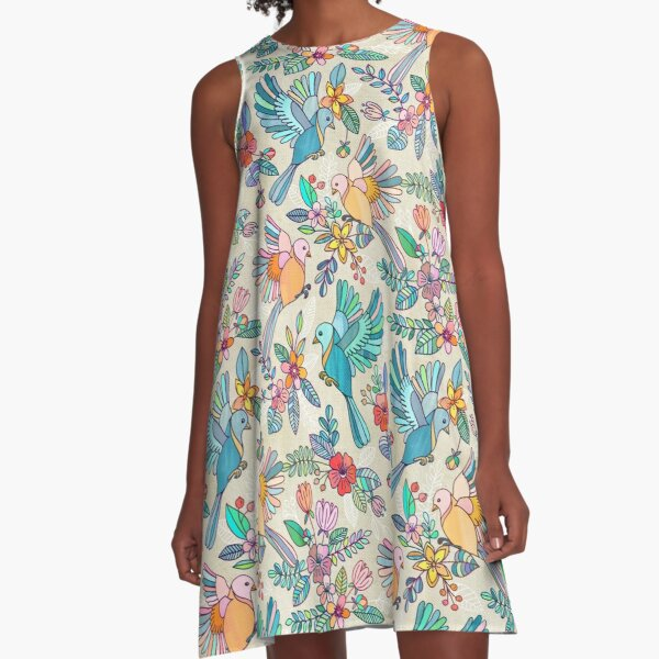 Whimsical Summer Flight A-Line Dress