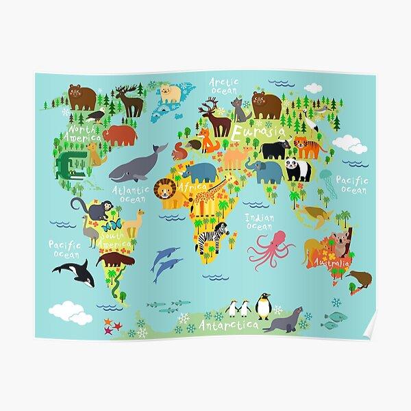 Mapa mundial de animales Póster