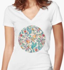 Whimsical Summer Flight Women's Fitted V-Neck T-Shirt