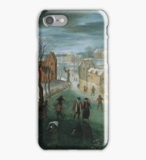 Jacob Grimmer - A Winter Landscape With A Village, Skaters On A Frozen River, And Hunters In The Foreground iPhone Case/Skin