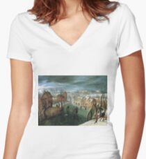 Jacob Grimmer - A Winter Landscape With A Village, Skaters On A Frozen River, And Hunters In The Foreground Women's Fitted V-Neck T-Shirt