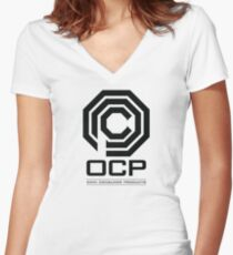 Robocop - OCP Omni Consumer Products Women's Fitted V-Neck T-Shirt