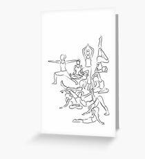 Yoga Asanas - drawing Greeting Card