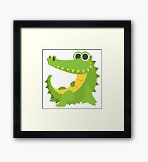 Cartoon Happy Crocodile Framed Print