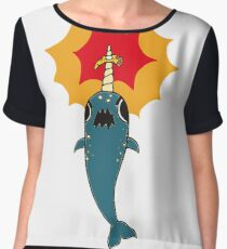 Pizza Narwhal Chiffon Top