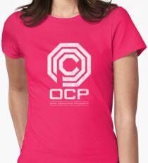 Robocop - OCP Omni Consumer Products White Distressed Variant Womens Fitted T-Shirt