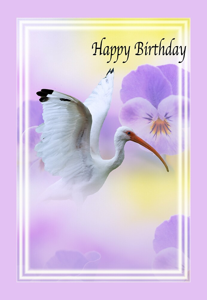 Ibis with Flowers Birthday Card by Delores Knowles