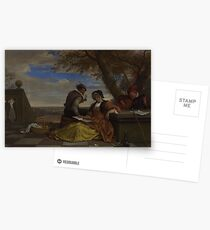 Jan Steen - Two Men And A Young Woman Making Music On A Terrace Postcards