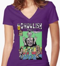 GHOULISH TALES COMIC - GHOULIES GO TO COLLEGE Women's Fitted V-Neck T-Shirt