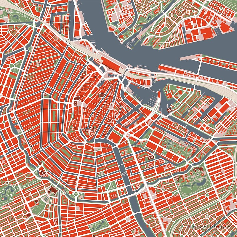 Amsterdam city map classic Scarves by PlanosUrbanos Redbubble