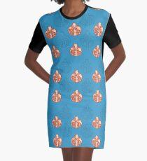 Hand draw pomegranate seamless pattern on blue background Graphic T-Shirt Dress