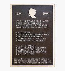 Sherlock Holmes metal print board of Reichenbach falls Photographic Print