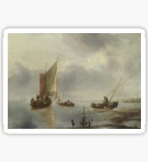 Jan Van De Cappelle - A Small Vessel In Light Airs, And Another Ashore Sticker