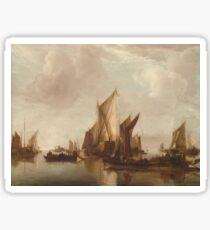 Jan Van De Cappelle - A State Yacht And Other Craft In Calm Water. Sticker