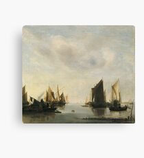 Jan Van De Cappelle - Coast Scene With Sailing Vessels Canvas Print