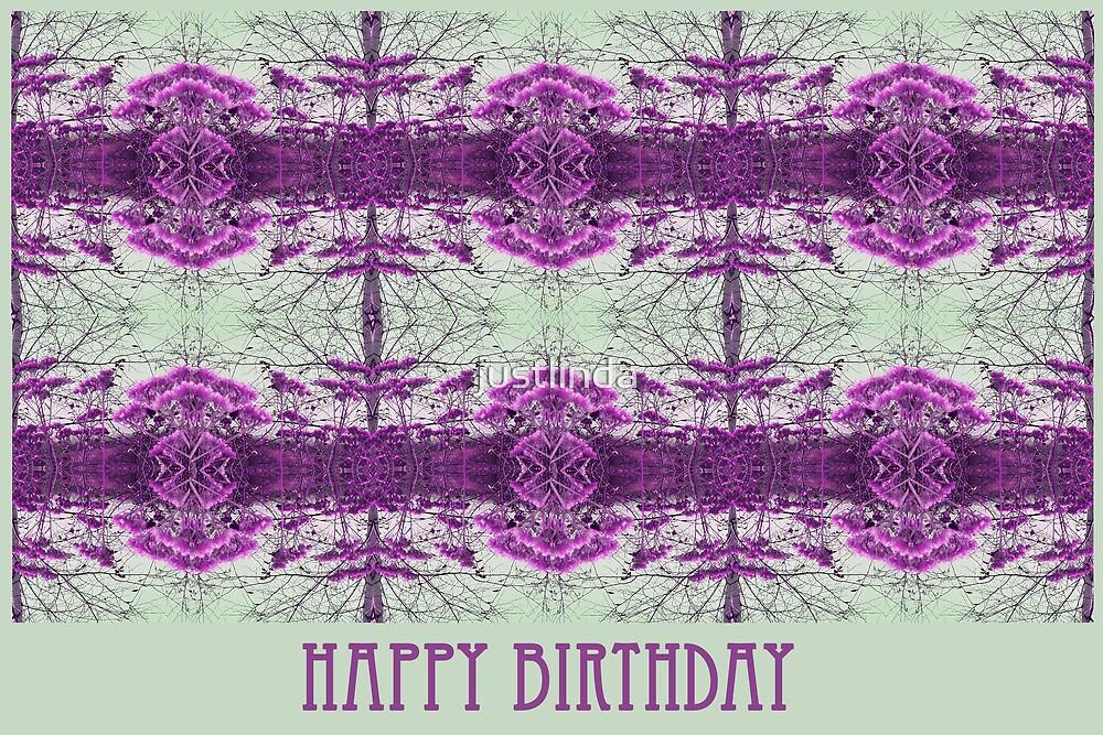 Birthday Card 10 - Purple Spray - by justlinda