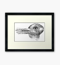 Rabbit, Duck, illusion, Is it a Rabbit or is it a Duck? Optical illusion, visual illusion. Black on White Framed Print
