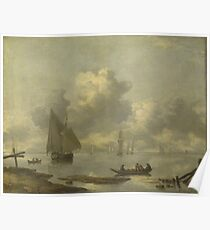 Jan Van De Cappelle - Vessels In Light Airs On A River Near A Town Poster