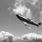 Spitfire EN152 above clouds B&W version by Gary Eason