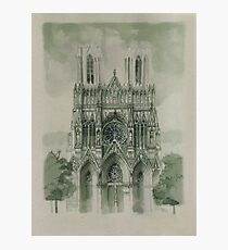 Draw Gothic Cathedrale Notre Dame in Reims Photographic Print