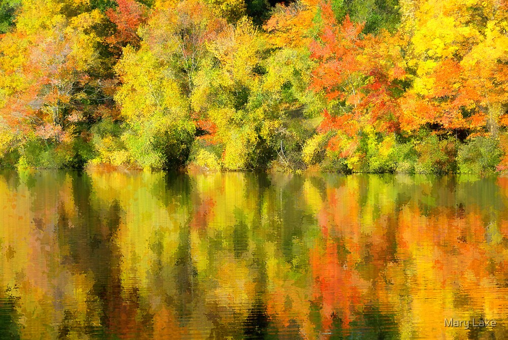 Painted Autumn Leaves by Mary Lake