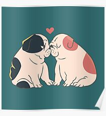 English Bulldog Kisses Poster