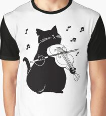 Black Cat Playing Violin Funny Musician Gift Graphic T-Shirt