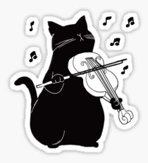 Black Cat Playing Violin Funny Musician Gift Sticker