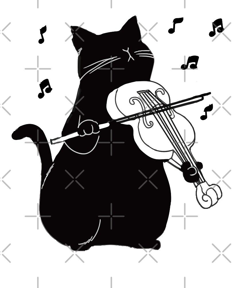 Black Cat Playing Violin Funny Musician Gift by JapaneseInkArt