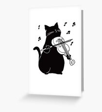 Black Cat Playing Violin Funny Musician Gift Greeting Card