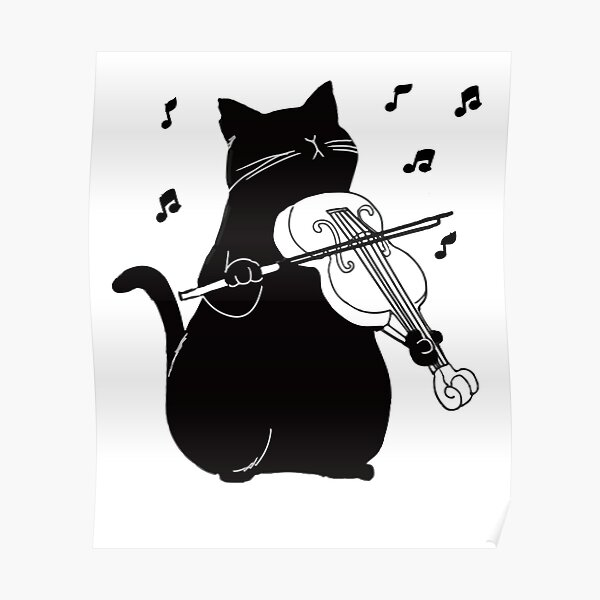 Black Cat Playing Violin Funny Musician Gift Poster